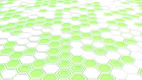 Abstract 3d background made of white hexagons on green glowing background. Wall of hexagons. Honeycomb pattern. 3D render illustration Stock Photography