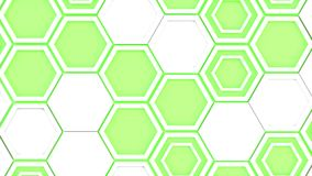 Abstract 3d background made of white hexagons on green glowing background. Wall of hexagons. Honeycomb pattern. 3D render illustration Stock Image