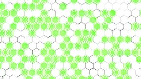 Abstract 3d background made of white hexagons on green glowing background. Wall of hexagons. Honeycomb pattern. 3D render illustration Stock Photos