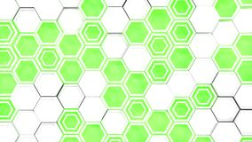 Abstract 3d background made of white hexagons on green glowing background. Wall of hexagons. Honeycomb pattern. 3D render illustration Royalty Free Stock Photo