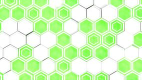 Abstract 3d background made of white hexagons on green glowing background. Wall of hexagons. Honeycomb pattern. 3D render illustration Royalty Free Stock Photography