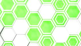Abstract 3d background made of white hexagons on green glowing background. Wall of hexagons. Honeycomb pattern. 3D render illustration Royalty Free Stock Images