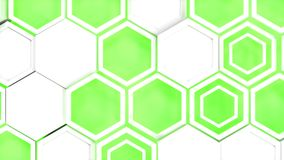 Abstract 3d background made of white hexagons on green glowing background. Wall of hexagons. Honeycomb pattern. 3D render illustration Stock Images