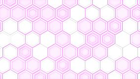 Abstract 3d background made of white hexagons on purple glowing background. Wall of hexagons. Honeycomb pattern. 3D render illustration Vector Illustration