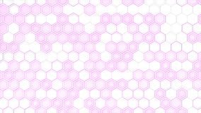 Abstract 3d background made of white hexagons on purple glowing background. Wall of hexagons. Honeycomb pattern. 3D render illustration Stock Illustration