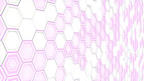 Abstract 3d background made of white hexagons on purple glowing background. Wall of hexagons. Honeycomb pattern. 3D render illustration Royalty Free Illustration