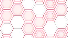 Abstract 3d background made of white hexagons on red glowing bac. Kground. Wall of hexagons. Honeycomb pattern. 3D render illustration Royalty Free Stock Image