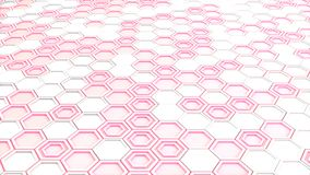 Abstract 3d background made of white hexagons on red glowing bac. Kground. Wall of hexagons. Honeycomb pattern. 3D render illustration Royalty Free Stock Images