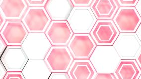 Abstract 3d background made of white hexagons on red glowing background. Wall of hexagons. Honeycomb pattern. 3D render illustration vector illustration
