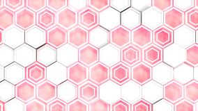Abstract 3d background made of white hexagons on red glowing background. Wall of hexagons. Honeycomb pattern. 3D render illustration royalty free illustration