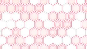 Abstract 3d background made of white hexagons on red glowing bac. Kground. Wall of hexagons. Honeycomb pattern. 3D render illustration Stock Photography