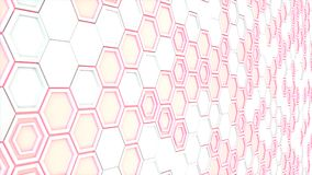 Abstract 3d background made of white hexagons on red glowing bac. Kground. Wall of hexagons. Honeycomb pattern. 3D render illustration Royalty Free Stock Photography