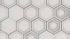 Abstract 3d background made of white hexagons. Wall of hexagons. Honeycomb pattern. 3D render illustration Stock Photography