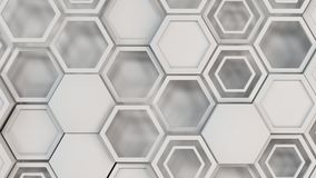 Abstract 3d background made of white hexagons. Wall of hexagons. Honeycomb pattern. 3D render illustration Royalty Free Stock Photo