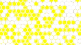 Abstract 3d background made of white hexagons on yellow glowing background. Wall of hexagons. Honeycomb pattern. 3D render illustration vector illustration
