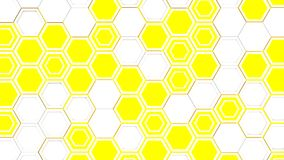 Abstract 3d background made of white hexagons on yellow glowing background. Wall of hexagons. Honeycomb pattern. 3D render illustration Stock Illustration