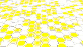Abstract 3d background made of white hexagons on yellow glowing background. Wall of hexagons. Honeycomb pattern. 3D render illustration Royalty Free Illustration