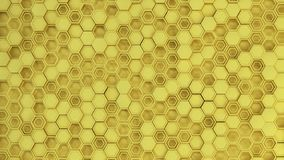 Abstract 3d background made of yellow hexagons. Wall of hexagons. Honeycomb pattern. 3D render illustration Royalty Free Illustration