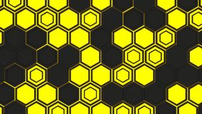 Abstract 3d background made of yellow hexagons on orange glowing background. Abstract 3d background made of black hexagons on yellow glowing background. Wall of Royalty Free Stock Image
