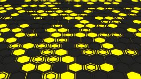 Abstract 3d background made of yellow hexagons on orange glowing background. Abstract 3d background made of black hexagons on yellow glowing background. Wall of Royalty Free Stock Photos