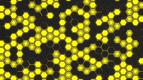 Abstract 3d background made of yellow hexagons on orange glowing background. Abstract 3d background made of black hexagons on yellow glowing background. Wall of Stock Images