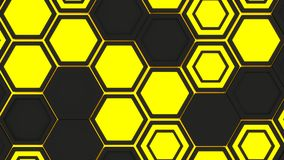 Abstract 3d background made of yellow hexagons on orange glowing background. Abstract 3d background made of black hexagons on yellow glowing background. Wall of Stock Photo