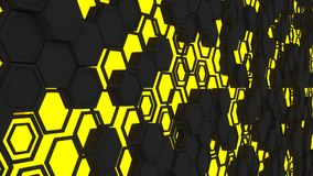 Abstract 3d background made of yellow hexagons on orange glowing background. Abstract 3d background made of black hexagons on yellow glowing background. Wall of vector illustration