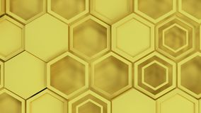 Abstract 3d background made of yellow hexagons. Wall of hexagons. Honeycomb pattern. 3D render illustration Stock Illustration