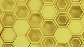 Abstract 3d background made of yellow hexagons. Wall of hexagons. Honeycomb pattern. 3D render illustration Vector Illustration