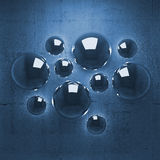 Abstract 3d background with shining spheres. On blue concrete wall Stock Images