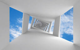 Abstract 3d background with twisted corridor. And sky Royalty Free Stock Photography