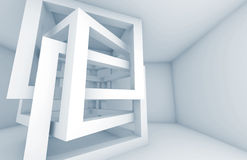 Abstract 3d background. White cube constructions. Abstract 3d architecture background. White chaotic braced cube constructions with blue shadows Royalty Free Stock Photo