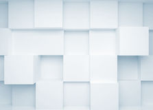 Abstract 3d background with white cubes. On the wall Stock Photo