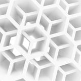 Abstract 3d background with white honeycomb. Abstract 3d architecture background with white double honeycomb structure Stock Images