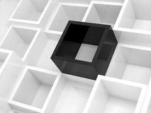 Abstract 3d background, white square cells. Abstract 3d design background, white square cells and one black element, 3d illustration Royalty Free Stock Image