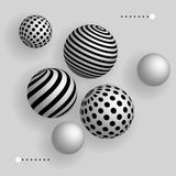 Abstract 3d balls floating in the air. Realistic background vector illustration