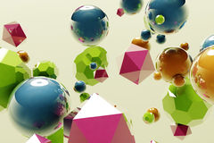 Abstract 3D balls. Abstract 3D floating object background Royalty Free Stock Images