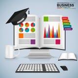 Abstract 3D bedrijfs infographic boekonderwijs Royalty-vrije Stock Foto's