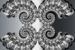 Abstract 3D-beeld met een volume over een zwart-witte achtergrond van gevormde fractal elementen, moderne modieuze fantasie scree royalty-vrije illustratie