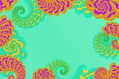 Abstract 3D beeld op een rode achtergrond met een volumetrisch fractal complex gevormd element van de krul in de vorm van bloemen stock illustratie
