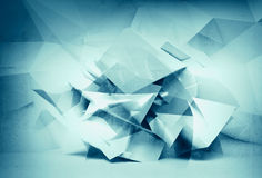 Abstract 3d blue background, chaotic polygonal interior Stock Photography
