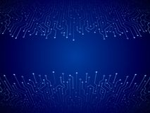 Abstract 3D blue circuit board. High-tech technology abstract background. Futuristic vector illustration Royalty Free Stock Images