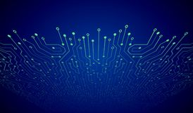 Abstract 3D blue circuit board. High-tech technology abstract background. Futuristic vector illustration Stock Images