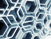 Abstract 3d blue honeycomb structure. Abstract blue honeycomb structure background, 3d render illustration Stock Photo