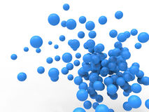 Abstract 3D blue illustration of orbs. Blue balls flying in white space Stock Photo