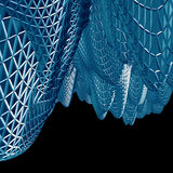 Abstract 3D blue net cloth background isolated on black Stock Image
