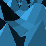 Abstract 3D blue triangles geometry. Polygonal rendered geometry made of blocks. Light and shade stock illustration