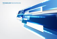 Abstract 3d blue and white rectangles motion with lighting effect technology futuristic digital concept perspective on white vector illustration
