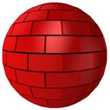 Abstract 3D Brick sphere. On white background Royalty Free Stock Images