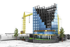 Abstract 3d of building development concept. Office building in process of construction Royalty Free Stock Images